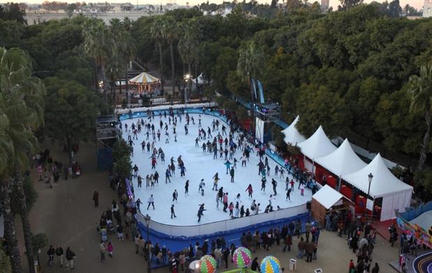 Skating in Seville at Christmas