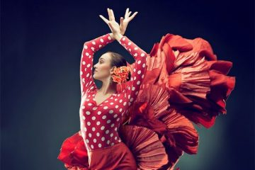 flamenco dancing girl in a red dress