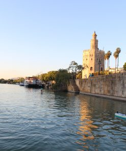 Stand up paddle surfing in the river of Seville
