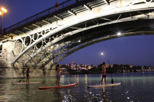 Paddle Surfing in Guadalquivir river, Sevilla.