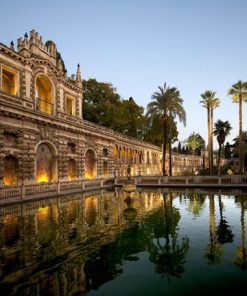 View from inside the gardens of the Royal Alcazar Palace in Sevilla