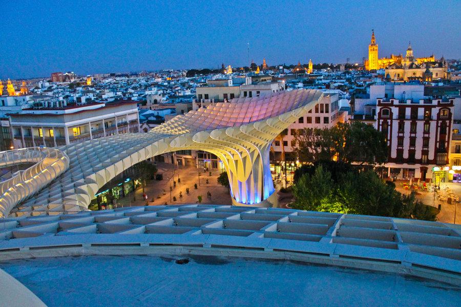 View of Seville skyline from Las Setas viewing platform