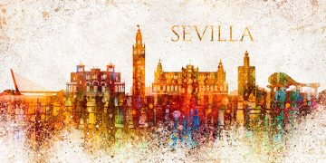 Painting of the Seville cityscape