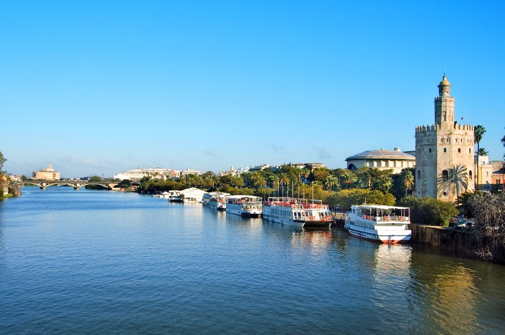 Seville riverside can be enjoyed from the water