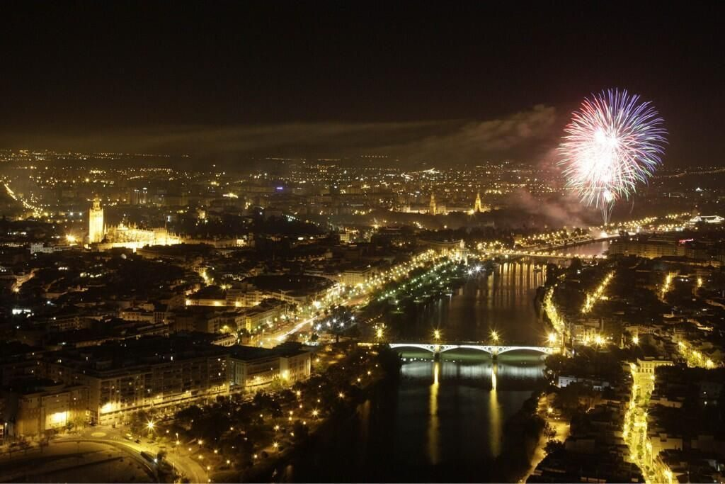 Fireworks display on romantic trip to Seville
